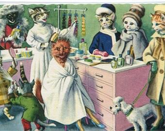 Mainzer Dressed Cats - Beauty Shop, manicure Mainzer dressed cats,  vintage postcard no. 4930 vintage postcard, SharonFosterVintage