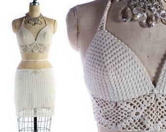 Vintage 70s Crochet Bikini Top And Skirt Set // 1970s Crochet Swimsuit // 1970s Crochet Bikini - sz S/M
