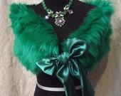 MidWinter Sale 20% Off WRAP  Faux Fur Emerald Green St Patrick's Handmade Irish One Size - Wrap - Emerald Green