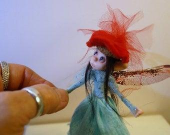 ooak poseable  little THREAD PIXIE w/ acorn hat ( #6 ) pixie elf polymer clay art doll by DinkyDarlings