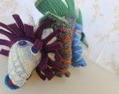 Recycled Sweater Stuffed Animal, Ragamuffin, Crispina, All Natural, Baby Gift, Soft Sculpture, Dinosaur