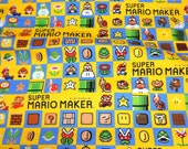 """Mario Super maker  Print Japanese fabric 50 cm by 106 cm or 19.6"""" by 42"""" Half meter"""