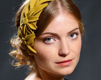 Vintage style mustard yellow fascinator from velour, fur felt- Limited special edition