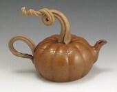 Handmade, Stoneware, Pottery, John Bauman, Pumpkin Teapot    John Bauman