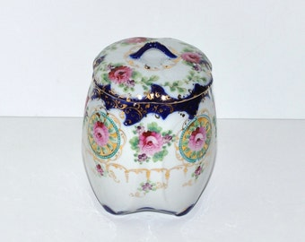Antique Hand Painted Porcelain Cookie Biscuit Jar
