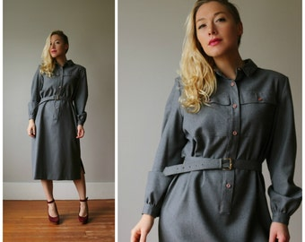 1960s Minimalist Seattle Grays Dress~Size Medium