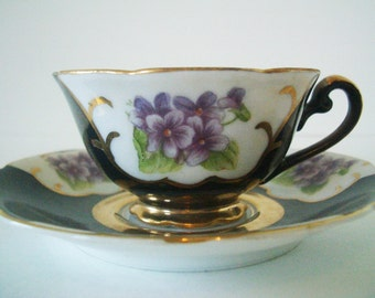 Vintage Demitasse Cup and Saucer with Violets/Occupied Japan