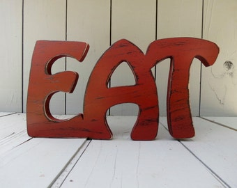 rustic distressed wood eat sign shabby chic decor wall hanging choice of 49 colors
