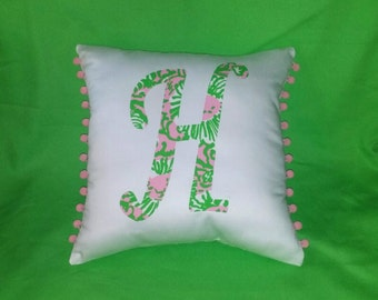 New Initial pillow Made with AUTHENTIC Lilly Pulitzer Sunnyside Fabric