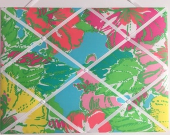 New memo board made with Lilly Pulitzer Big Flirt fabric