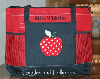 Personalized large zippered teacher tote gift tote bag