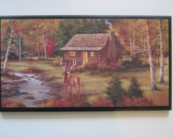 Lodge Style Plaque, country rustic hunting cabin & deer wall decor sign
