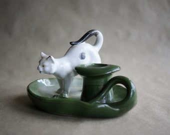 German Fairing Cat, Toothpick Holder, Match Safe, Made in Germany, White and Green, Porcelain Figurine, Top Hat, Victorian Era