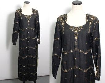 VTG 70's Sheer Black Kaftan (Medium) Tunic Maxi Dress Caftan Delicate Floral Embroidery Gold Sequins Long Sleeves Hippie Boho