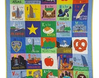 Baby Quilt in New York City Alphabet