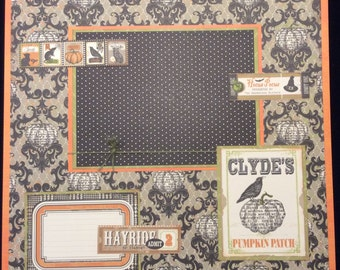 Halloween Scrapbook Page, Halloween Layout, 12x12 Layout Page, Punpkin Patch Scrapbook Layout