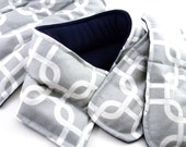 Heat Pack Hot Cold Therapy Pack Gift Set, heating rice bag heating pad, gray navy geometric