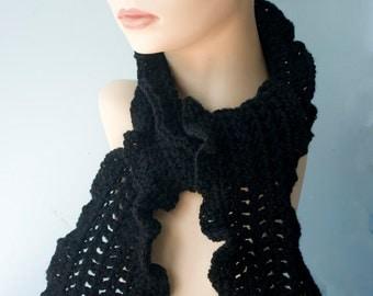 Crochet Ruffle Scarf, Custom Scarf, Wool Winter Scarf, Woman's Scarf, Fashion Scarf, Lace Scarf