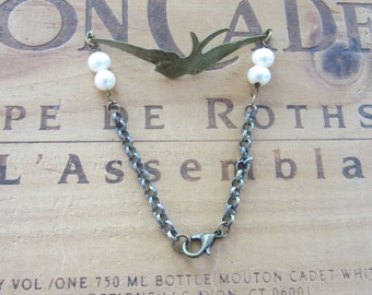 Brass Bird and Freshwater Pearl Bracelet