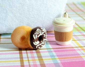 Donuts and Coffee Cufflinks - Miniature Food Art Jewelry Collectable - Schickie Mickie Original 100% handmade