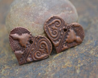 Copper Split Textured Heart Component (1 pair)
