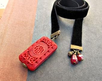 Ribbon Bookmark, Black Velvet with Cinnabar Inspired Accents: Xen