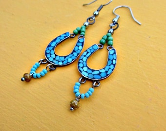 Chandalier Dangle Earrings with Green and Turquoise Accents on Silver: Inca