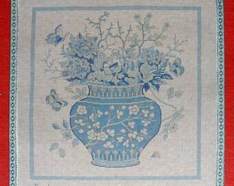 Blue Vase with Blue Flowers Needlepoint Theodora #16 Canvas