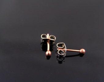 Copper Earrings, Copper Studs, Copper Stud Earrings, Solid Copper Ear Studs, Copper Buds, Bud Earrings, Raw Copper Earrings, Tiny Earrings