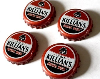 Beer Bottle Top Magnets, Killian Irish Red Beer Magnets, George Killians Refrigerator Magnets, Red Ale, Killians Brewery Bottle Cap Magnets