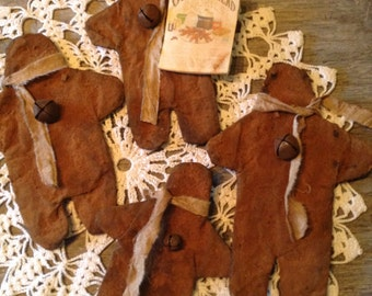 Primitive Grungy Gingerbread men Flatties pattern