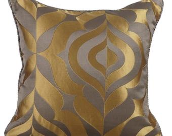 Decorative Throw Pillow Cover Couch Pillow Sofa Pillow Bed Accent Pillow Toss Pillow 16 x 16 Grey Pillow Case Bedding Grey Gold Luxury
