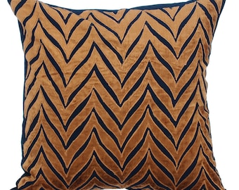 Gold & Navy Couch Cushion Covers 16 x 16 Pillow Covers Navy Silk Appliqued with Gold Velvet Decorative Pillows Arty Chevron