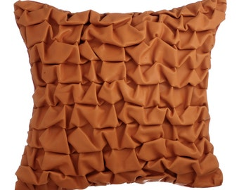 Orange Leather Decorative Throw Pillow Covers Accent Pillow Couch Sofa Toss Pillow Case 16x16 Orange Faux Leather Pillow Cover Textured Burn