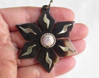 Summer Sale Star Celestial Silver Buffalo Horn Pink Opal  Pendant Briolette Bead, Statement Piece Handmade Six Pointed