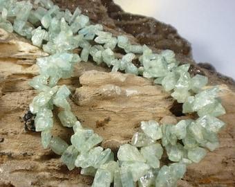 25% Off SALE Aquamarine Long CRystal Polished Natural Briolettes Beads  1/2 Strand