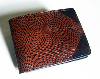 Leather Wallet - Thin Bi-fold with Kaleidoscope Design - Men's Leather Wallet