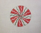 Peppermint Candy Handpainted Needlepoint Canvas Christmas Ornament
