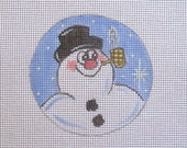 Frosty Snowman w/Corncob Pipe Christmas Handpainted Needlepoint Canvas Ornament