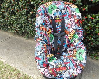 Marvel characters toddler car seat cover