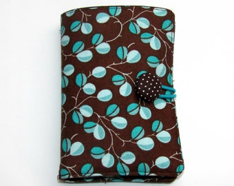 Tea Bag Wallet, Tea Bag Holder, Tea Bag Case, Tea Wallet, Tea Bag organizer Travel Case Turquoise Leaves