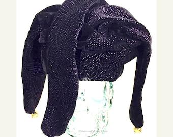 Jester Hat Joker Hat Velvet Black / Glitter Purple with Gold Bells ~ Shannon Dockery Bakos