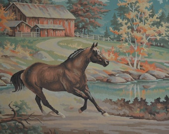 50s  Paint by Numbers Painting, Horse, Southwestern