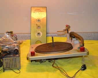 Mid-Century Console Stereo Turntable and Parts, Symphonic, Bakelite Knobs