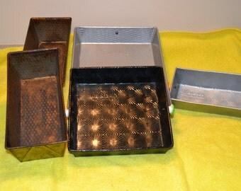 5 Vintage Baking Tins, various shapes