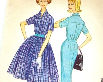 1960 Misses Dress with Slim or Full Skirt McCall's 5466 Vintage Sewing Pattern 1950s Style / Size 14 Bust 34