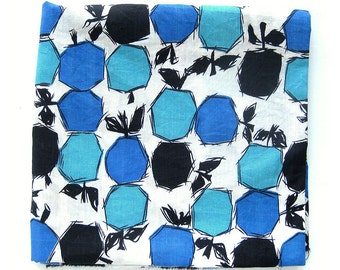 1950s Vintage Cotton Fabric in Blue Aqua and Black Abstract Fruit Design / Cotton Yardage