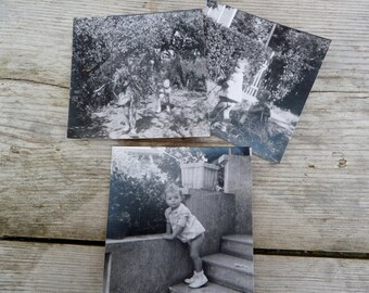 "Vintage 1950/50s French black and white photography children playing in a garden /Set of 3 photos  3.3"" x 3.3"""