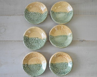 set of 6 handsculpted mint green and creamy yellow salsa dipping pottery bowls / mini bowls