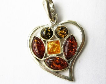 AMBER Sterling Stone HEART Pendant